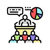 political campaign color icon vector illustration