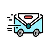 express mail color icon vector illustration