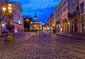 Lviv. Town Hall Square at Dawn.