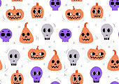 Halloween pattern with sculls and pumpkins