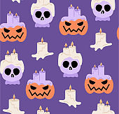 Halloween pattern with candles, pumpkins and sculls