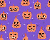 Halloween pattern with pumpkins