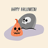 Halloween illustration with pumpkin and headstone