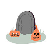 Halloween illustration with cute pumpkins and headstone