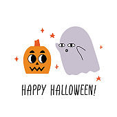 Happy Halloween. Pumpkin and ghost