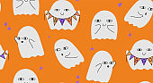 Halloween pattern with ghosts