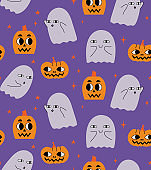 Halloween pattern with ghosts and pumpkins