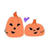 Cute couple of pumpkins halloween illustration