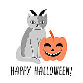 Halloween cat with punpkin illustration