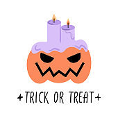 Halloween Pumpkin and candles Trick or treat