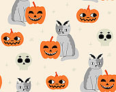 Halloween pattern with cats, sculls and pumpkins