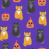 Halloween seamless pattern with cute cats and pumpkins