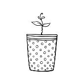 Pot with a plant sprout, seedlings. Hand drawn simple black outline vector illustration in doodle style, isolated. Design element, clip art for decoration, coloring page