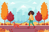 African american woman walking with dog in autumn park. Outdoor activity concept. Vector illustration.