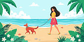 Leisure time on beach. Woman walking with dog. Summer time. Vector illustration