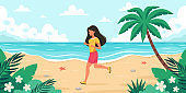 Leisure time on beach. Woman jogging. Summer time. Vector illustration