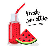 Watermelon Fresh. Cocktail smoothie vector flat