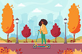 African american woman riding electric scooter in autumn park. Eco transport concept. Vector illustration.