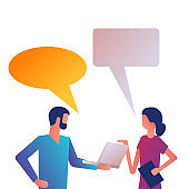 Business people talking. Man and woman are talking