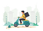 Delivery service concept. Courier character riding scooter. City background. Vector illustration