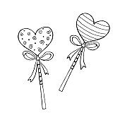 Vector outline heart shape lollipop gingerbread on stick with bow. Hand drawn contour doodle clip art. For Valentine's Day, confectionery shop decoration, food illustration. Love sweet candy
