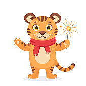 Cute tiger in a scarf with sparkler wishes a Merry Christmas and Happy New Year 2022. Year of the Tiger. Vector illustration