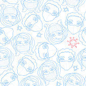 Vector seamless pattern with outline of people wearing medical protective mask and molecules of microbes, viruses, bacteria. Measures to prevent infection. Coronavirus pandemic. Hand drawn, doodle