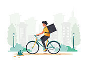 Delivery service concept. Courier riding by bicycle. City background. Vector illustration