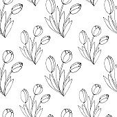 Vector seamless pattern with outline Bouquet of three flowers of tulips. Hand drawn doodle spring texture, background. For wrapping paper, coloring page, mother's or women's or Valentine's Day