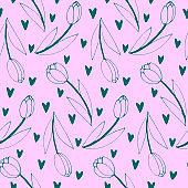Vector seamless pattern with outline tulip flowers and hearts. Hand drawn doodle spring texture, background. For wrapping paper, textile, mother's or women's or Valentine's Day