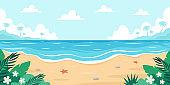 Beach landscape. Seashore with sea star, palms, sea pebbles and tropical plants. Vector illustration