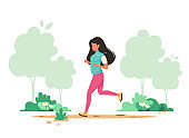 Woman jogging in spring park. Healthy lifestyle, sport, outdoor activity concept. Vector illustration.