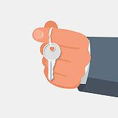Hand holding house keys. Handing key to home vector
