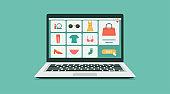 online shopping or digital women store on laptop