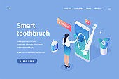 Dental smart toothbrush. Digital brush with gum massage and control via mobile application
