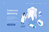 Cosmetic curative dentistry. Teeth whitening and prevention of gums and enamel