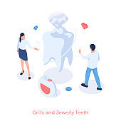 Grills and jewelry teeth. Aesthetic dentistry with diamond