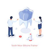 Silicone trainer against tooth wear. Installation dental pad exerciser
