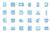 Kitchen appliance line icon set. Oven, mixer, dishwasher, food processor, combi steamer minimal vector illustrations. Simple outline signs of cooking equipment. Blue color, Editable Stroke
