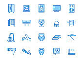 Household appliance line icon set. Washing machine, humidifier robot vacuum cleaner, curling iron minimal vector illustration. Simple outline signs for electronics. Blue color, Editable Stroke