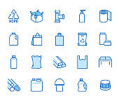 High density polyethylene flat line icons. HDPE products - jerry can, plastic canister, pipes, milk jug, garbage container vector illustrations. Thin signs of packaging. Blue color, Editable Stroke