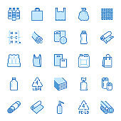 Low density polyethylene flat line icons. LDPE products - food package film, thermoresistant paper, garbage bag, plastic water bottle, bubble wrap vector illustrations. Blue color, Editable Stroke
