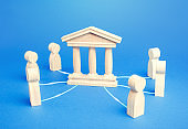 Bank or government state is an intermediary between people. Communication and the functioning of economic relations between entities, regulatory services. Courts and justice. Institution Management.