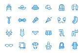 Clothing accessory line icon set. Bow tie, handkerchief, woman hat, sunglasses, umbrella, hijab minimal vector illustrations. Simple outline signs for fashion app. Blue color, Editable Stroke