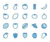 Fruits, berry flat line icons set. Orange, strawberry, pineapple, mango, lemon, kiwi apple, grape vector illustrations. Outline signs for organic food store. Blue color Editable Stroke
