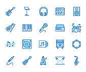 Musical instruments flat line icons set. Dj equipment, sound recording studio, piano, guitar, saxophone vector illustration. Outline pictogram for music store. Blue color, Editable Stroke