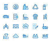 Waste recycling flat line icons set. Garbage bag, truck, incinerator factory, container, bin, rubbish dump vector illustration. Outline signs of trash management. Blue color, Editable Stroke