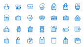 Bags line icon set. Purse types - tote, briefcase, fanny pack, shopper, luggage, plastic bag minimal vector illustrations. Simple outline signs for fashion app. Blue color, Editable Stroke