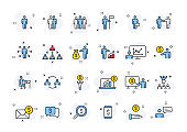 Set of 24 Business people and teamwork web icons in line style. Business, teamwork, leadership, manager. Vector illustration.