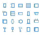 Light box flat line icons. Hanging signboard, retro lightbox, outdoor banner, shop advertising vector illustrations. Thin signs of street ads. Blue color, Editable Stroke